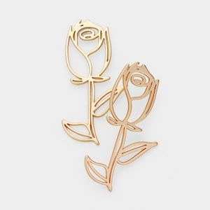 Matte Gold Rose Glass Cut Out Stud Earrings
